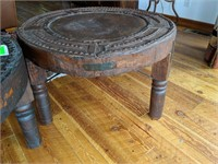 2) Rustic End Tables with Metal Accents