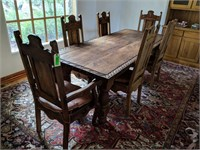 """36"""" x 96"""" Dining Table with Leaf Carvings,"""
