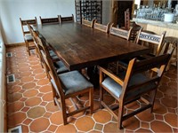 10' x 4' Solid Wood Dining Table, 12) Chairs