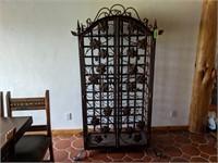 Metal Wine Cabinet with Grapevine Door Accents