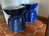 2) Blue Ceramic Stools