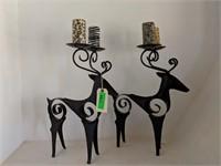 2) Metal Deer Candle Holders