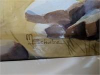 Framed M. Schulze Art, Cross Wall Decor
