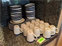 Gibson Blue and White Dinnerware Set