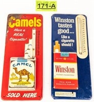 Lot of 2 Vintage Cigarette Thermometers