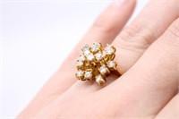 18K Yellow Gold Gilded Diamond Ring