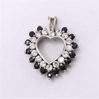 .925 Sterling Silver Heart Simulated CZ Pendant
