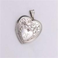 .925 Sterling Silver Heart Engraved Locket Pendant