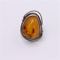 .925 Sterling Silver And Amber Ring