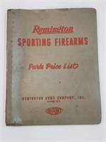 1957 Remington Sporting Firearms Parts Price List