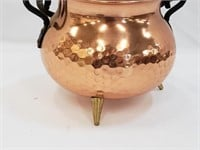 Hammered Effect Copper Couldron Pot
