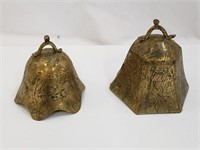 (2) Intricately Hand Etched Brass Bell Look