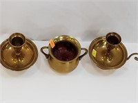 Vintage Brass Candlesticks And Candle Pot