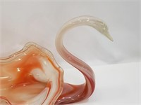 Hand Blown And Pulled Glass Swan Dish