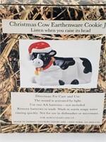 Christmas Cow Earthenware Cookie Jar