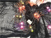 Halloween Light Up Spiders And Spiderwebs Décor