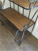 Iron Wine Rack with Wood Shelves/ Bottle Holders