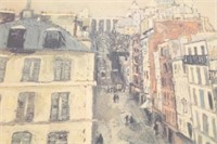 Vintage Print Of An Acrylic Cityscape Painting