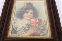 Vintage Girl With Flowers Print