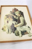 Norman Rockwell Boy With Two Dogs Print