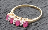 14 KT Ruby and Diamond Ring-