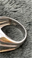 14K White Gold Men's Diamond Ring-