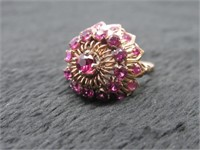14K & Ruby Antique Cocktail Ring  w/ Appraisal-