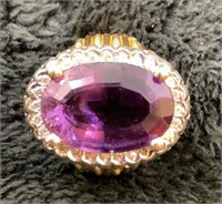 14K Amethyst and Diamond Ring-