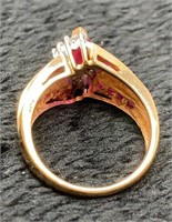 14K Marquis Cut Ruby and Diamond Ring-
