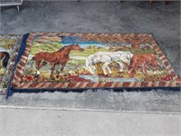 2 Horse Tapestries and a Horseshoe
