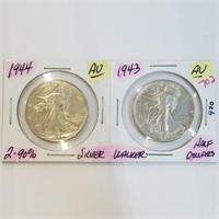 AU 1943 & 1944 Walking Liberty Half Dollar