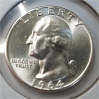 UNC 1964 & 1964-D Silver Washington Quarters