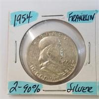 1954 Frankin & 1941 Walking Liberty Half Dollar