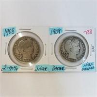 1908 & 1909 Barber Half Dollar