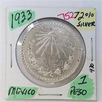 1933 Mexico 1 Peso 72% Silver