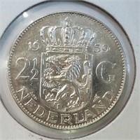 1959 Netherlands 2 1/2 Gulden 72% Silver