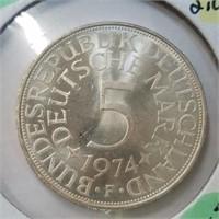 1974 Germany 5 Mark 62% Silver
