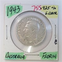 1943 Australia Florin .925 Sterling Silver