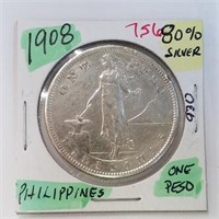 1908 Philippines 1 Peso 80% Silver