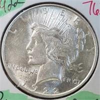1922 90% Silver Peace Dollar