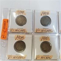 (8) 1899-1912 Antique V-Nickel Coins