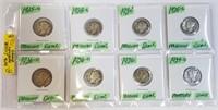 (8) 1925-1939 90% Silver Mercury Dimes