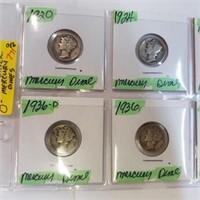 (8) 1920-1939 90% Silver Mercury Dimes