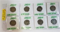 (8) 1940's WWII Nickels 35% Silver