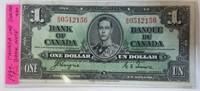 1937 Canada $1 Dollar Bill Bank Note
