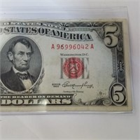 1953 Red Seal $5 Bill Note