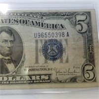 1934-D Blue Seal Silver Certificate $5 Bill Note