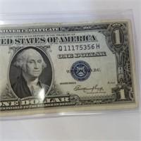 1935-E Blue Seal Silver Certificate $1 Bill Note
