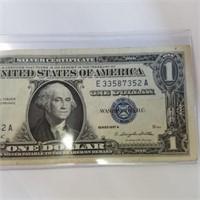 1957-A Blue Seal Silver Certificate $1 Bill Note