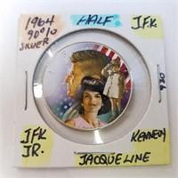 1964 Jacqueline & JFK Kennedy Painted Half Dollar